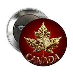 Canada Button Chrome Gold Maple Leaf Button