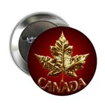 Canada Button Chrome Gold Maple Leaf Button