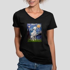 Starry / Dalmatian #1 Women's V-Neck Dark T-Shirt