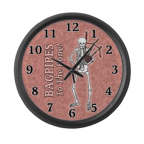 Bagpipes Playing Skeleton Large Wall Clock