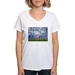 Lilies / Dalmatian #1 Women's V-Neck T-Shirt