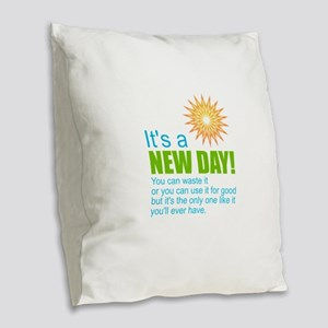 New Day Motivational Burlap Throw Pillow