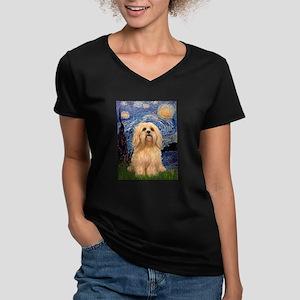 Starry / Lhasa Apso #9 Women's V-Neck Dark T-Shirt
