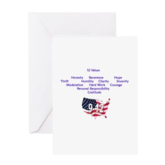 12 Values - 9 Prin. on back Greeting Card