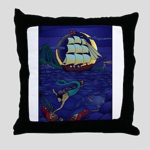 Pirate Mermaid Throw Pillow