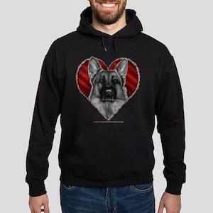 German Shepherd K9 Valentine Hoodie (dark)