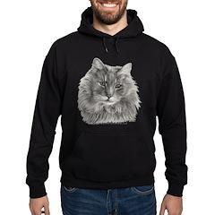 TG, Long-Haired Gray Cat Hoodie (dark)