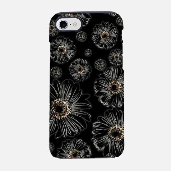 Gothic Black Daisy Pattern iPhone 7 Tough Case