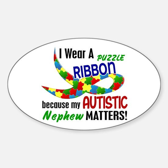 I Wear Puzzle Ribbon Nephew 33 Oval Decal