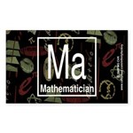Mathematician Retro Rectangle Sticker 50 pk)