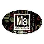 Mathematician Retro Oval Sticker