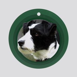 Wire-haired Jack Russell Round Green Ornament