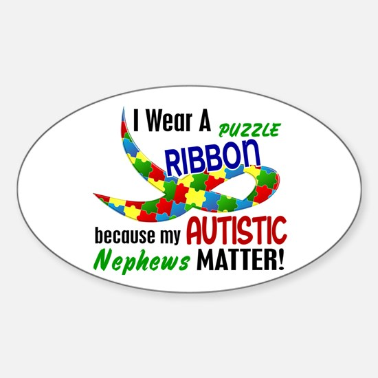 I Wear Puzzle Ribbon Nephews 33 Oval Decal