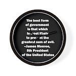 James Monroe Quotation Wall Clock