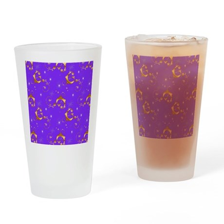 Gold and Purple Christmas Drinking Glass