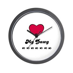 LOVE MY DAWG Wall Clock
