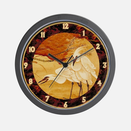 White Cranes Wall Clock