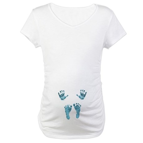 blue baby hands and feet Maternity T-Shirt
