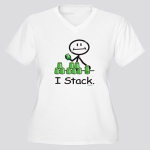 Sport Stacking Green Cups Women's Plus Size V-Neck