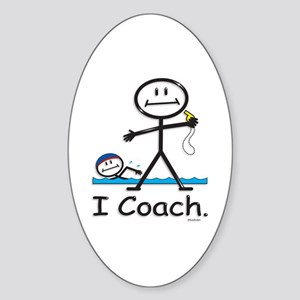 Swimming Coach Oval Sticker