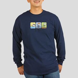 Triathlon Stick Figure Long Sleeve Dark T-Shirt