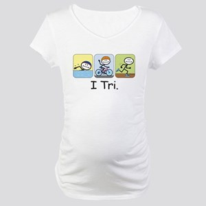Triathlon Stick Figure Maternity T-Shirt