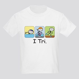 Triathlon Stick Figure Kids Light T-Shirt