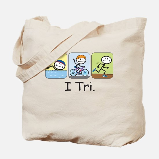 Triathlon Stick Figure Tote Bag
