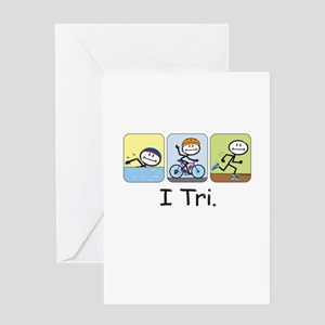 Triathlon Stick Figure Greeting Card