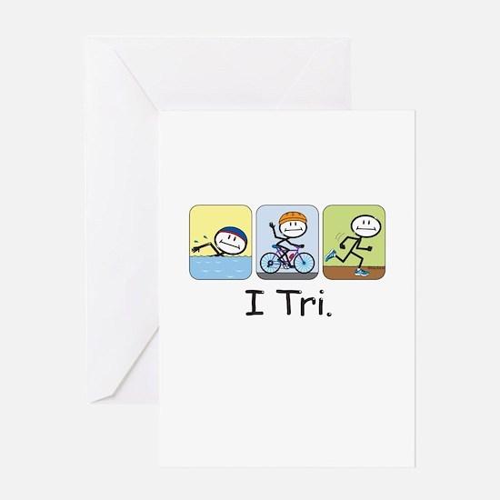 Triathlon Stick Figure Greeting Card