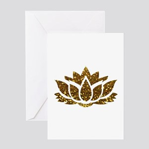 Gold Glitter Lotus Greeting Cards