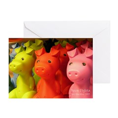 Neon Piglets Greeting Cards (Pk of 10)