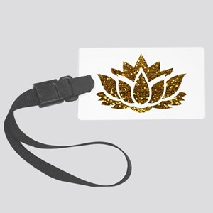 Gold Glitter Lotus Large Luggage Tag