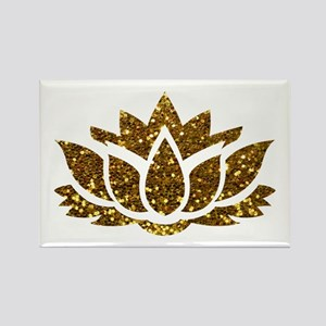 Gold Glitter Lotus Magnets