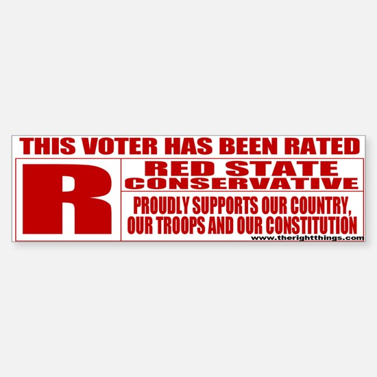 Rated R Red State Conservative Bumper Bumper Bumper Sticker