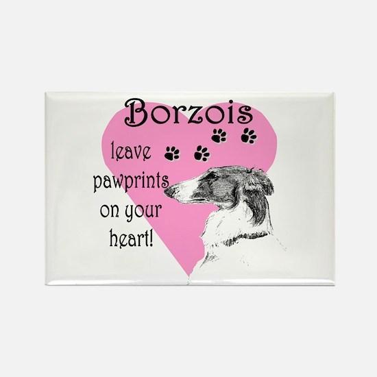 Borzoi Pawprints Heart Rectangle Magnet