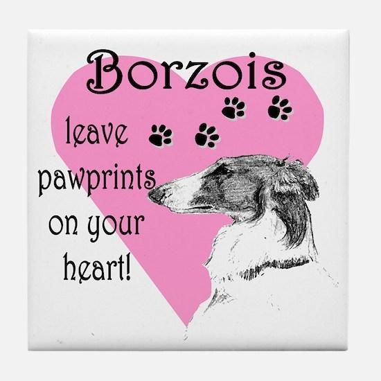 Borzoi Pawprints Heart Tile Coaster