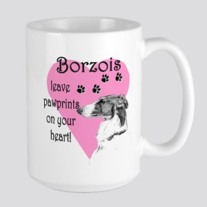 Borzoi Pawprints Heart Large Mug
