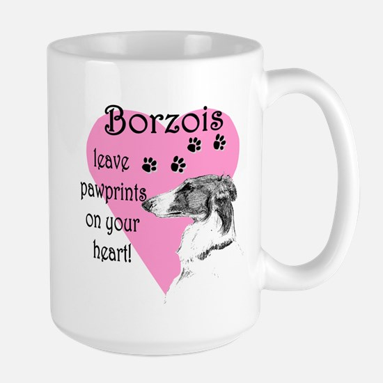 Borzoi Pawprints Heart Large Mug