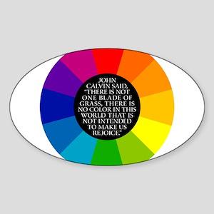 John Calvin-Color Oval Sticker