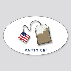 PARTY ON! Tea Party Oval Sticker