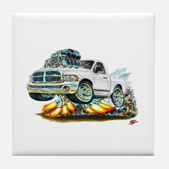 Dodge Ram White Truck Tile Coaster