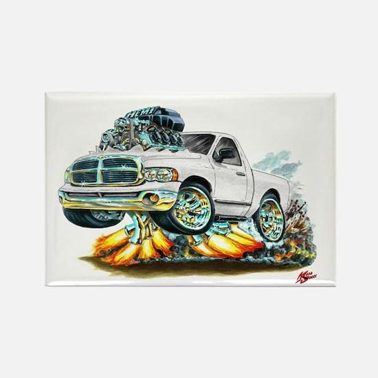 Dodge Ram White Truck Rectangle Magnet