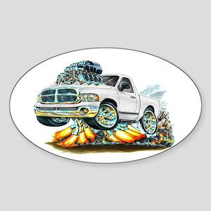Dodge Ram White Truck Oval Sticker