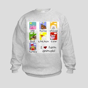 I Love Farm Animals Kids Sweatshirt