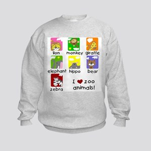 I Love Zoo Animals Kids Sweatshirt