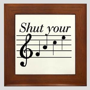 Shut your face Framed Tile