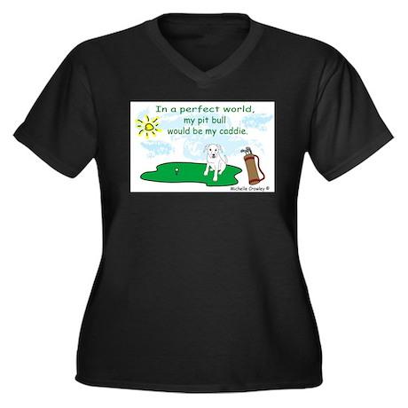 pit bull Women's Plus Size V-Neck Dark T-Shirt