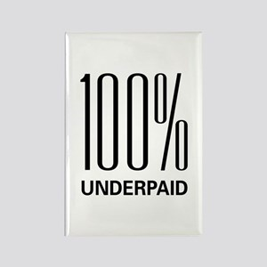 100 Percent Underpaid Rectangle Magnet