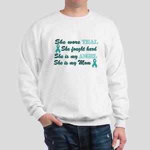 She is Mom Angel Teal Sweatshirt